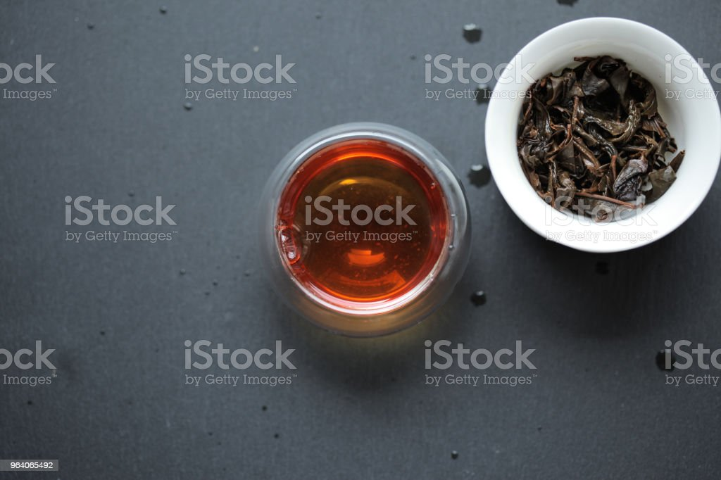 Post-fermented Japanese tea in a glass teacup - Royalty-free Fermenting Stock Photo