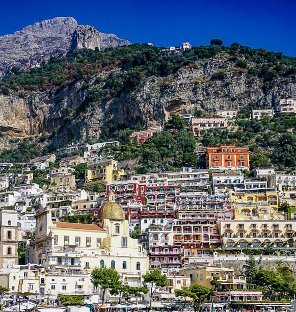 Postiano on the Amalfi Coast in Italy stock photo