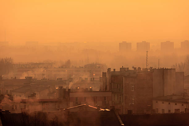 Postindustrial Cityscape Postindustrial Cityscape smog stock pictures, royalty-free photos & images