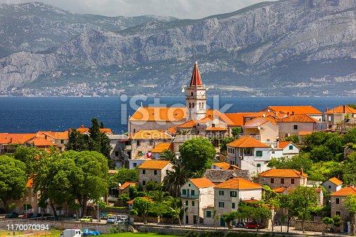 Postira on Brac island skyline view, Dalmatia, Croatia. Postira on Brac island skyline view, Dalmatia, Croatia. Gorgeous view on village Postira on Brac island, Croatia.