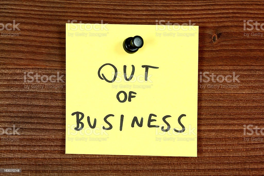 Post-it note saying out of business  royalty-free stock photo