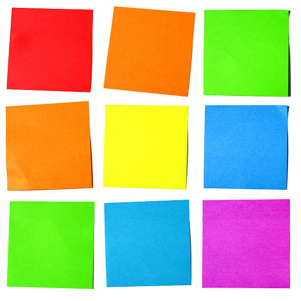 Post-it Notes: Vibrant colors on White stock photo