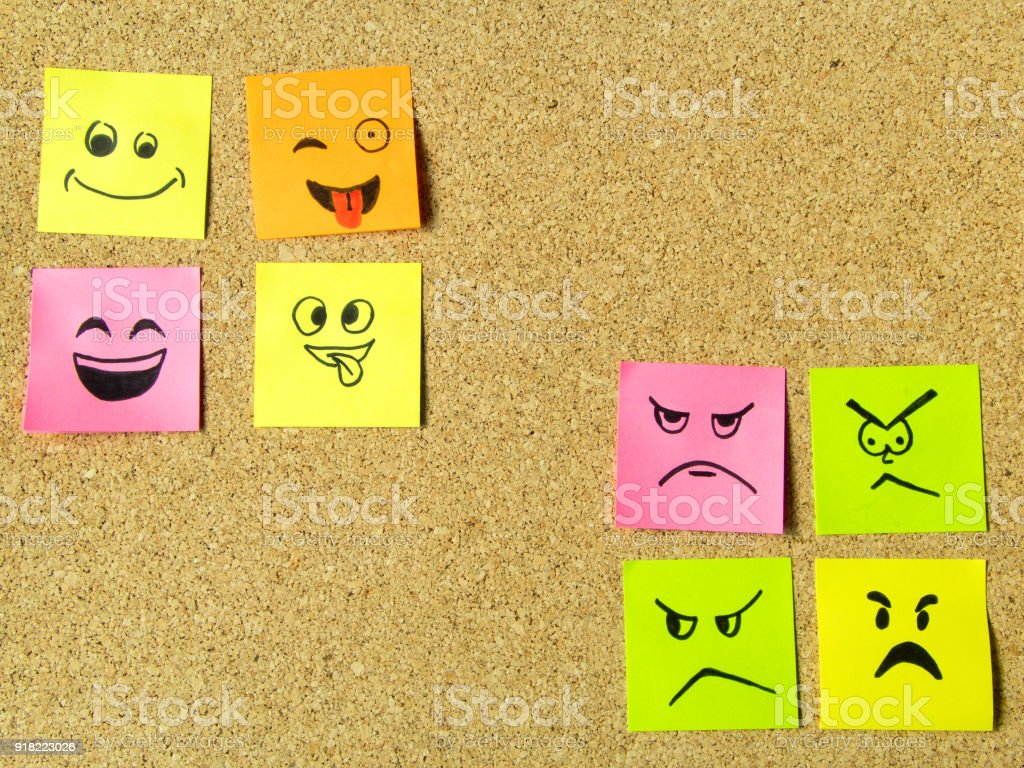 cork board for office home postit notes with different face expression on cork board office school abstract concept photo postit notes with different face expression on cork board office