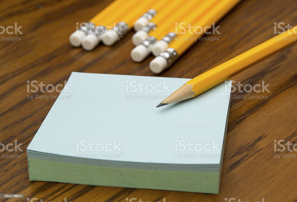 Post-it notes with pencil royalty-free stock photo
