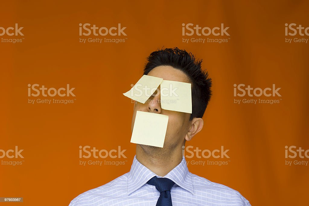 Postit over the face royalty-free stock photo