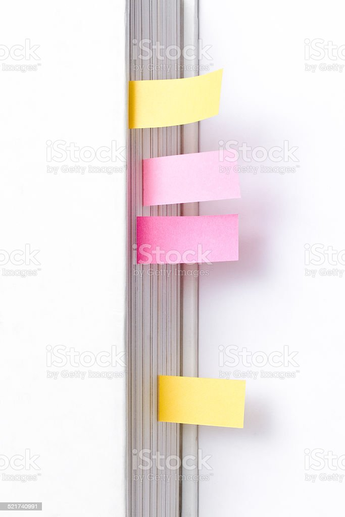 Post-its on Blank White Paper stock photo