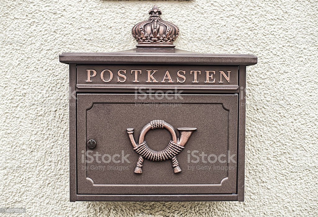 Postkasten Briefkasten mail box in Switzerland royalty-free stock photo