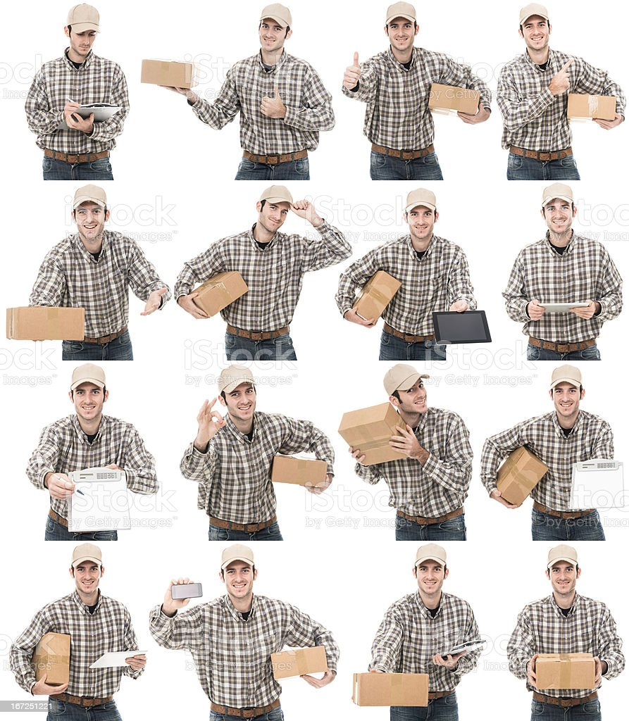Postman on various scene royalty-free stock photo