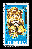 Postmark Nigeria Lions isolated on black background