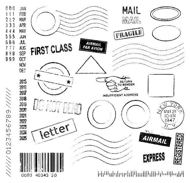 postmarks e francobolli collezione - timbro foto e immagini stock