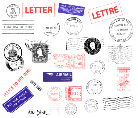 You can see real 27 postmarks: Boston, Letter, Par Avion, Lettre, First Day Isssue, Vancouver, First Day of Issue Canberra City Australia, England Official Paid, Two cents washington, Us Flag with Washington, Montreal Quebec Canada, Plainville Kansas, Souvenir de la Tour Eiffel, Please Do Not Bend, Airmail Priority, Honolulu Hawaii, Kawasaki Kamihirama Nippon, Per Via Aerea, Duty Free, US Postage Clifford PA, New York, Castries St Lucia, New York and waves.
