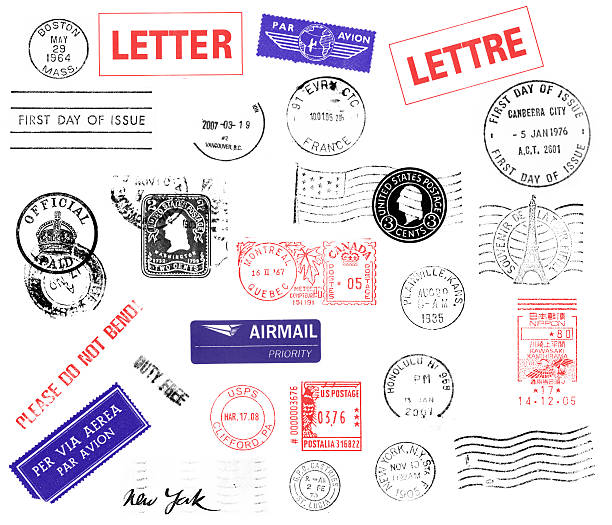 Postmarks You can see real 27 postmarks: Boston, Letter, Par Avion, Lettre, First Day Isssue, Vancouver, First Day of Issue Canberra City Australia, England Official Paid, Two cents washington, Us Flag with Washington, Montreal Quebec Canada, Plainville Kansas, Souvenir de la Tour Eiffel, Please Do Not Bend, Airmail Priority, Honolulu Hawaii, Kawasaki Kamihirama Nippon, Per Via Aerea, Duty Free, US Postage Clifford PA, New York, Castries St Lucia, New York and waves. postmark stock pictures, royalty-free photos & images