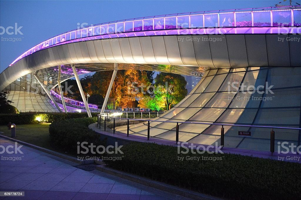 Postmodern footbridge on Huangpu riverside, Shanghai stock photo