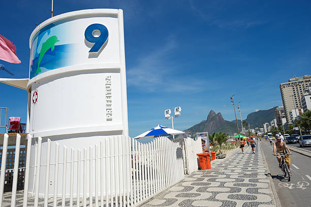 Posto Nove Ipanema Rio de Janeiro Brazil Lifeguard Tower Nine stock photo
