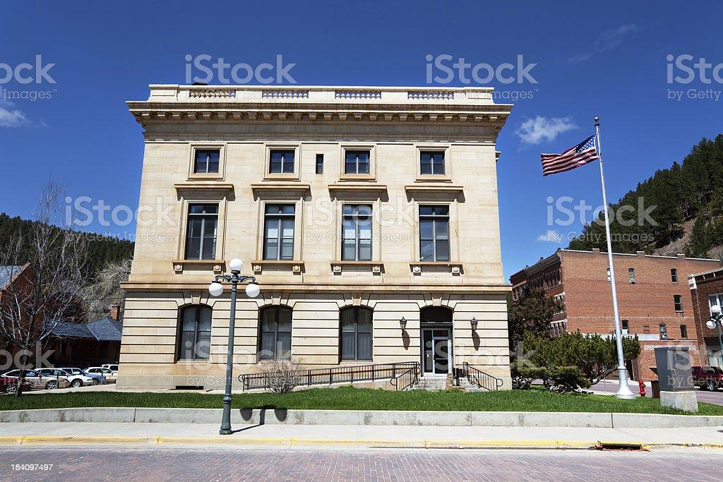 Postoffice building in Deadwood, South Dakota. stock photo