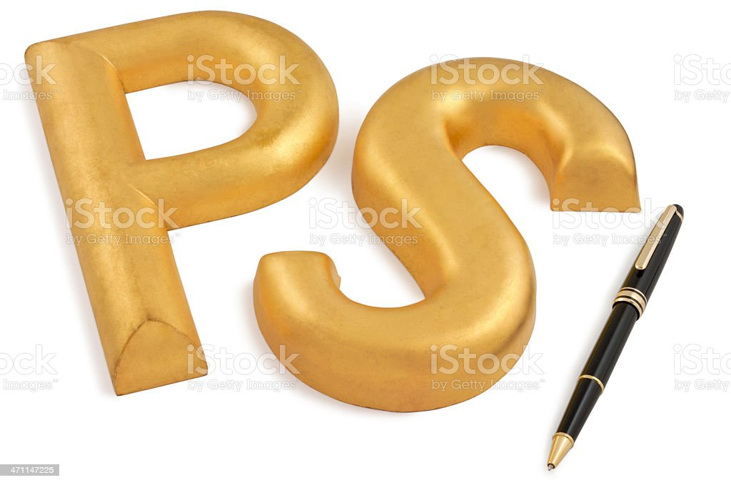 Postscript stock photo