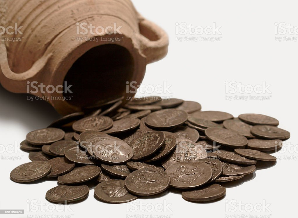 A pot and ancient coins from Antioch Museum stock photo