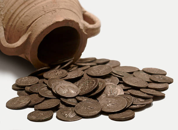 a pot and ancient coins from antioch museum - roman stock photos and pictures