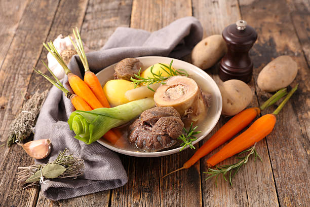 pot au feu beef with vegetable and broth,pot au feu pot au feu stock pictures, royalty-free photos & images