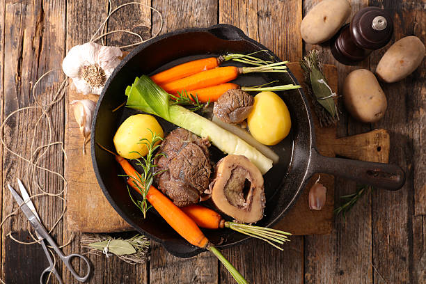 pot au feu rustic above pot au feu rustic above pot au feu stock pictures, royalty-free photos & images