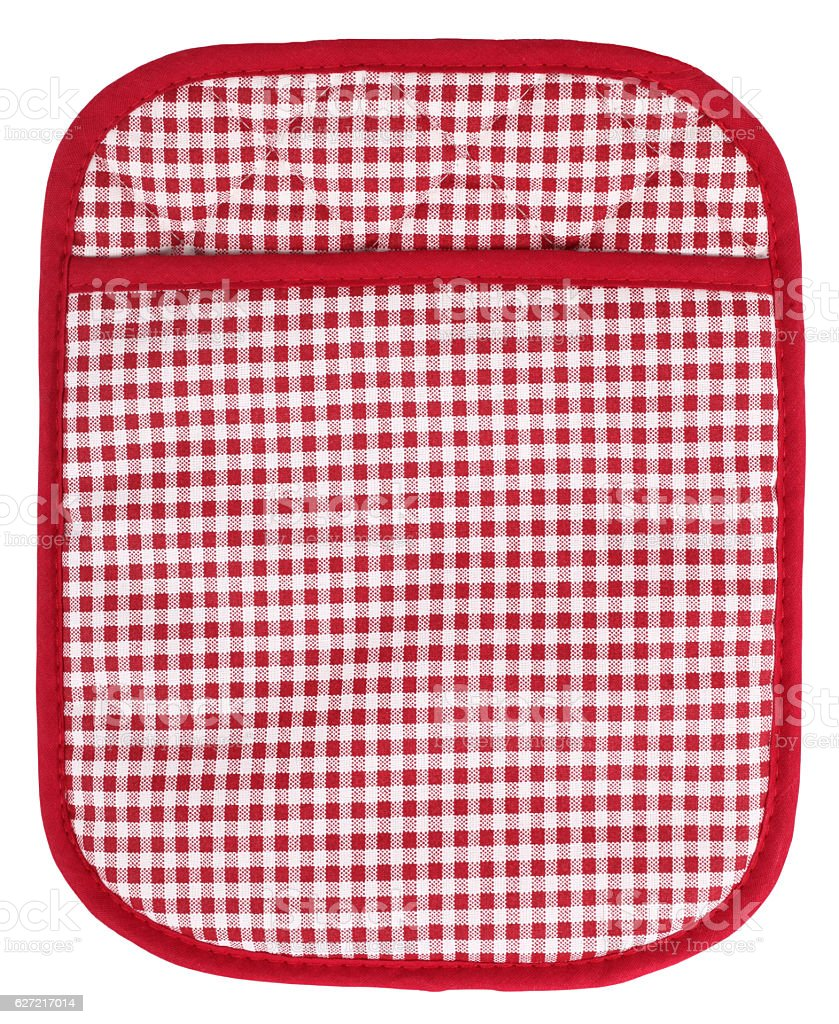 Pot holder lovely red and white plaid with pocket stock photo