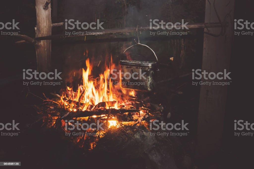 A pot of boiling water on the fire in the forest. royalty-free stock photo