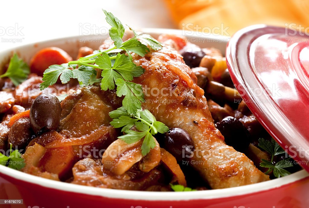 Pot of freshly cooked chicken cacciatore stock photo