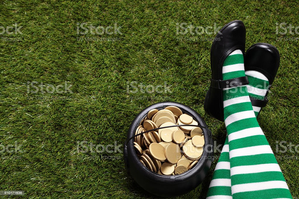 Pot of gold and Female Leprechaun stock photo