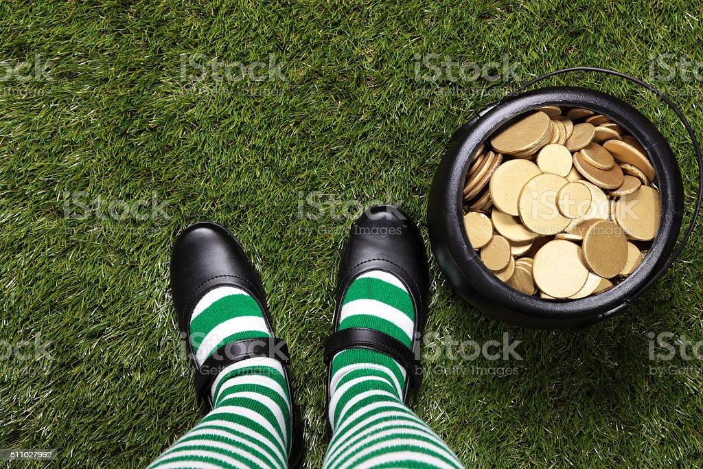 Pot of gold and Female Leprechaun stock photo