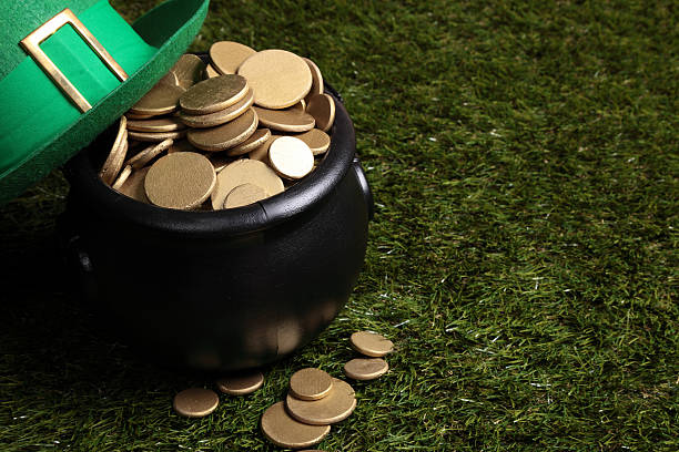 pot of gold and leprechaun hat - luck of the irish stock photos and pictures