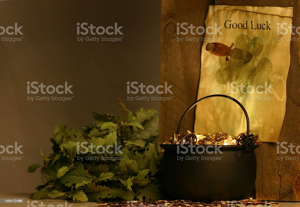 Pot of Gold and note that says 'good luck' royalty-free stock photo