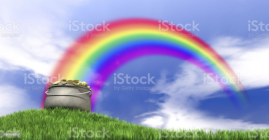 Pot Of Gold And Rainbow On Grassy Hill stock photo