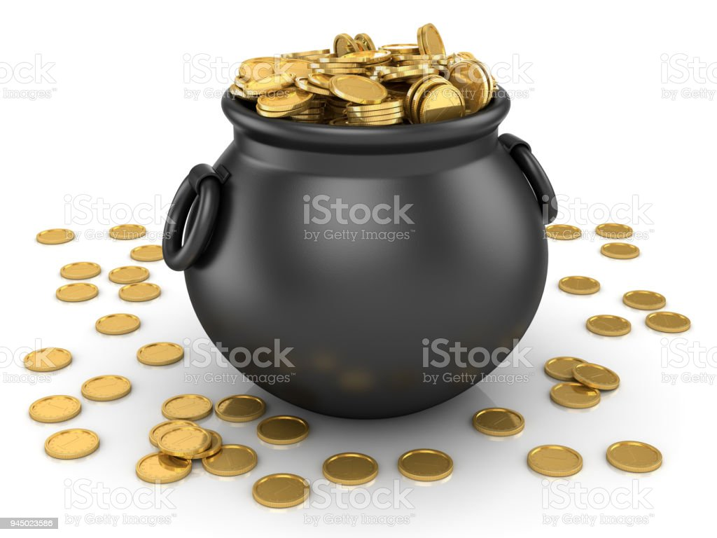 Pot of Gold Coin stock photo