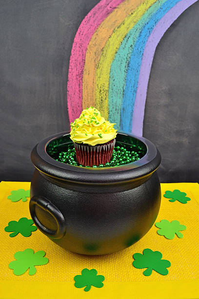 Pot of Gold Cupcake at the End of a Rainbow stock photo