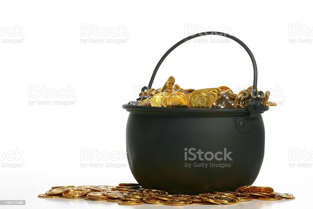 Pot of Gold Isolated on White Space stock photo