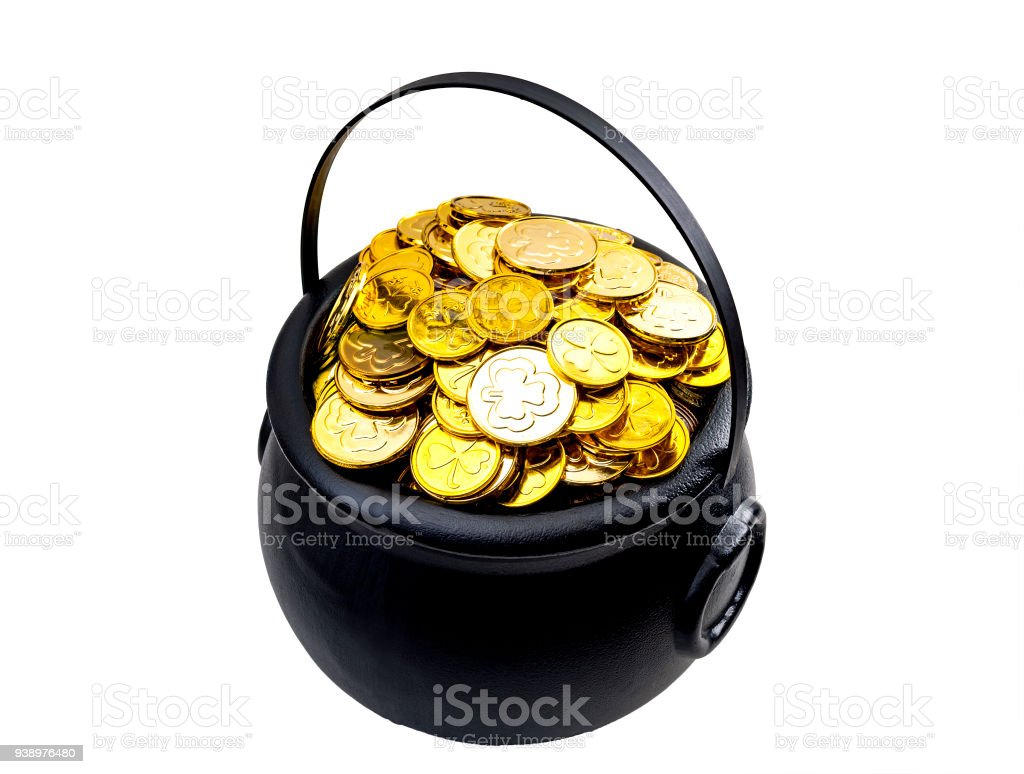 Pot of gold isolated on white with clipping path cutout stock photo
