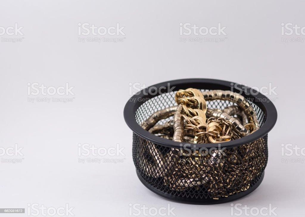 Pot of Gold Jewelry Horizontal Isolated on White Background royalty-free stock photo