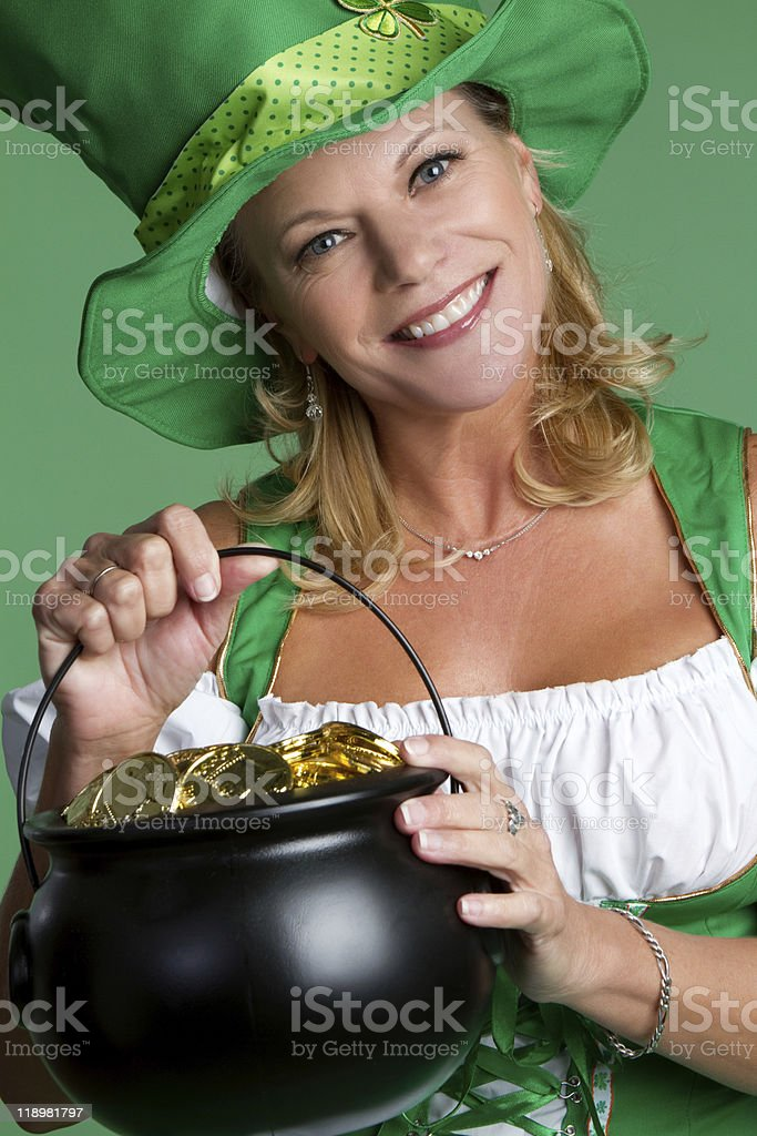 Pot of Gold Woman royalty-free stock photo