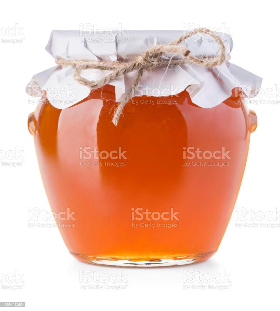 Pot of jam on white stock photo