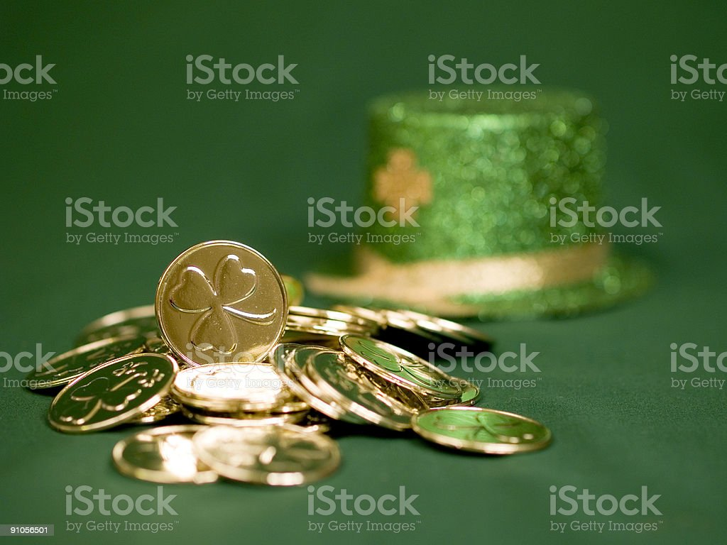 Pot of Lucky Gold royalty-free stock photo