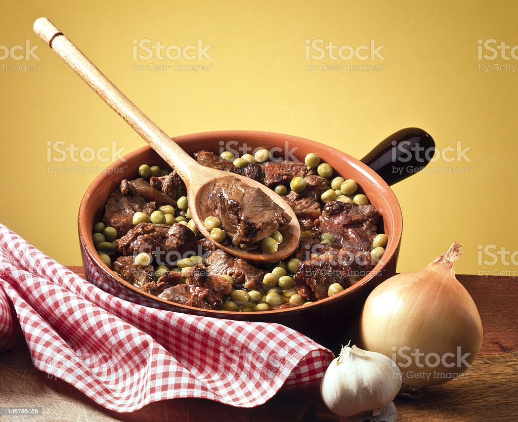 pot of meat and peas royalty-free stock photo