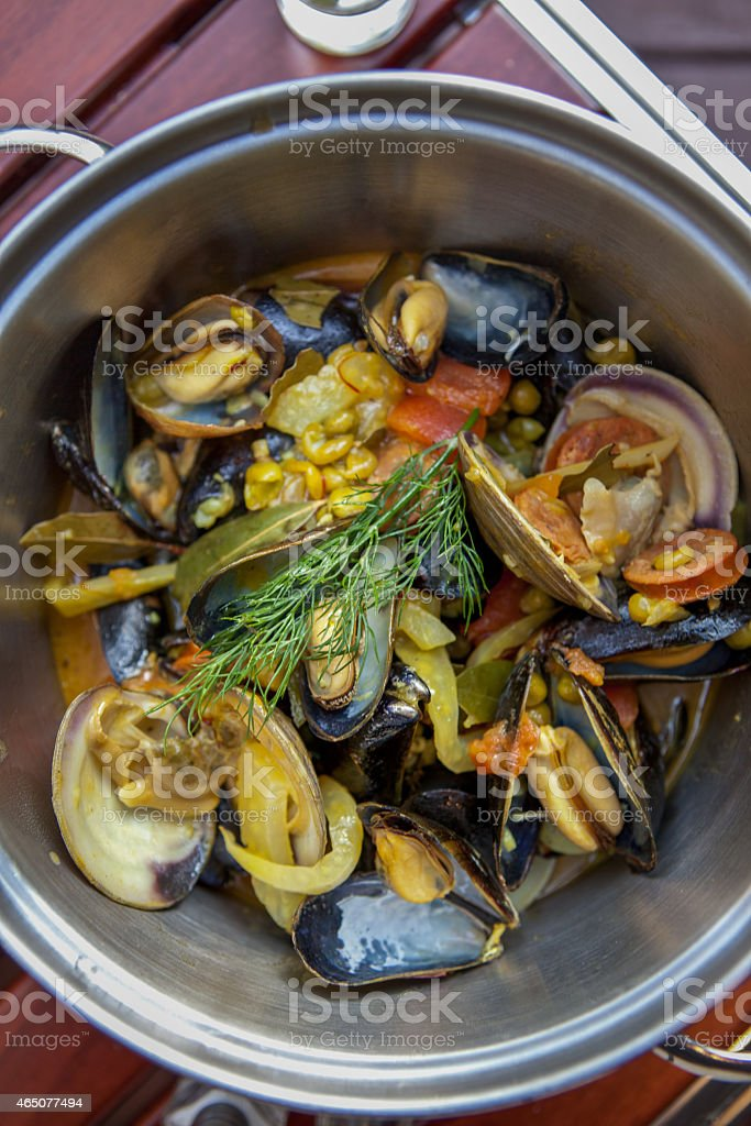 Pot of Mussels stock photo