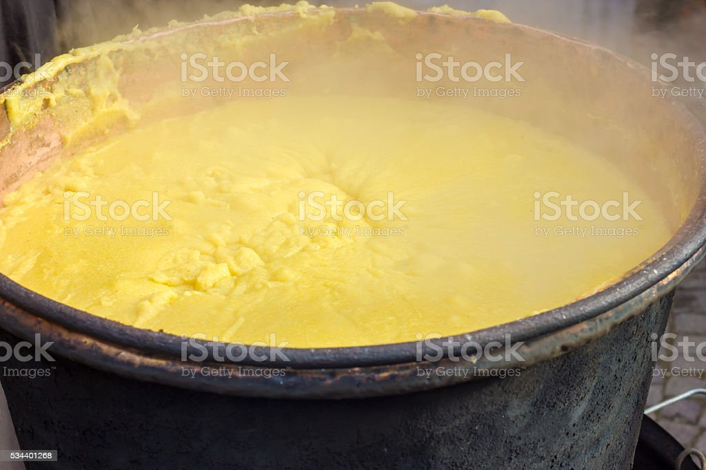 Pot of polenta stock photo