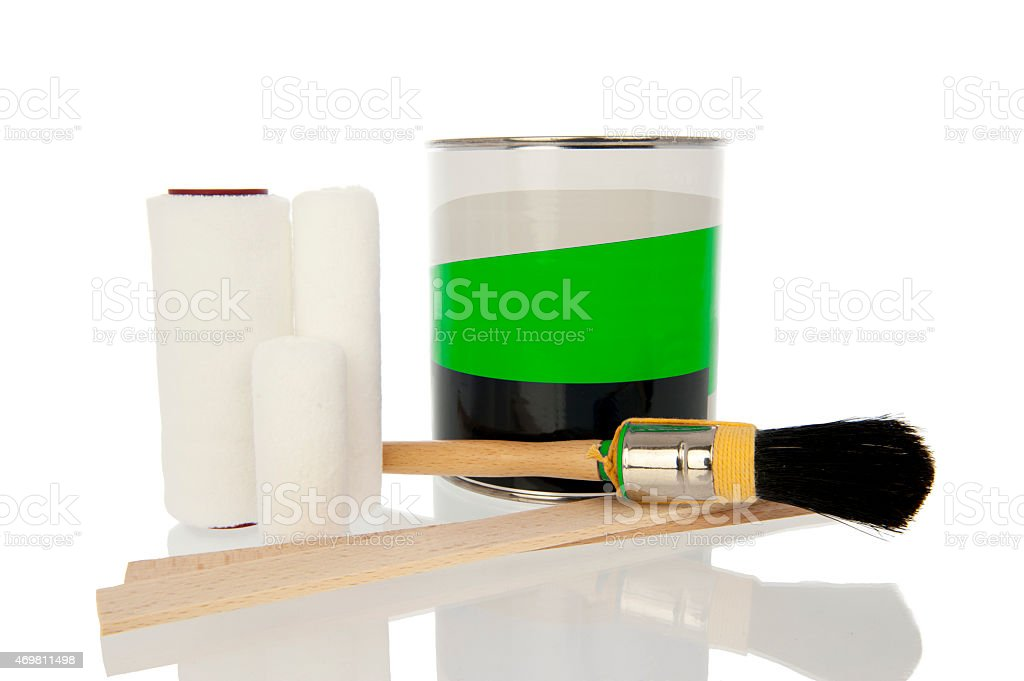 Pot paint with brush and roller stock photo