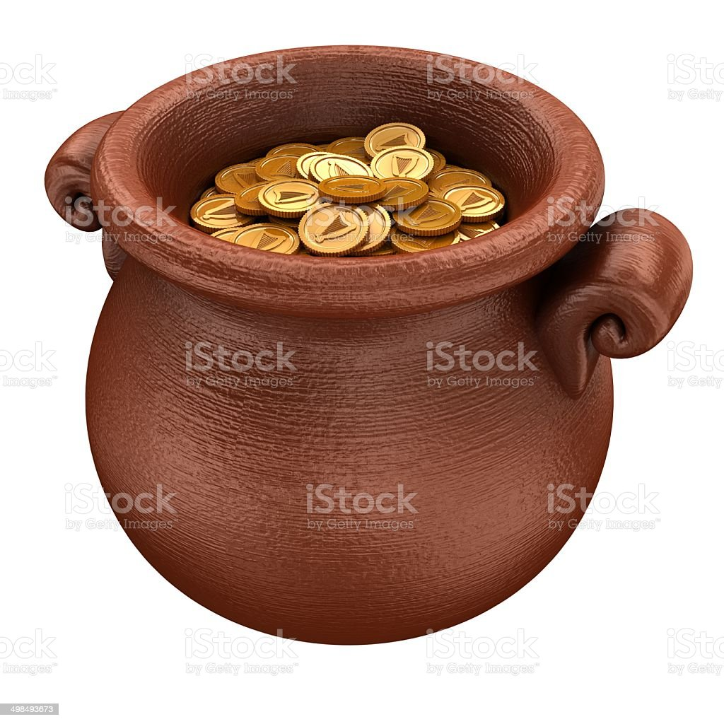 Pot with gold stock photo