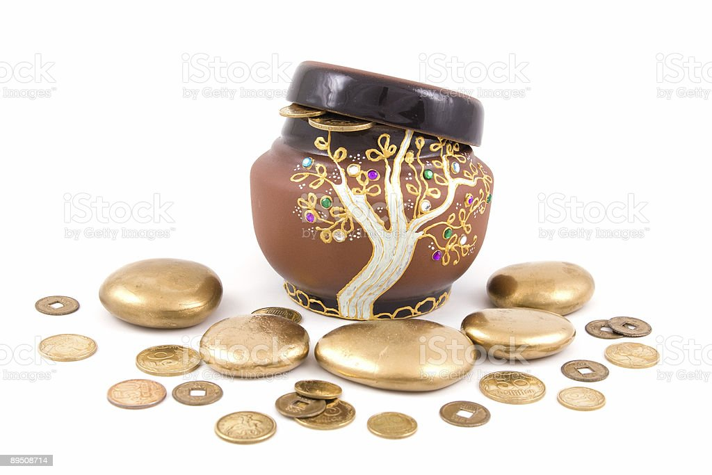 pot with mone royalty-free stock photo