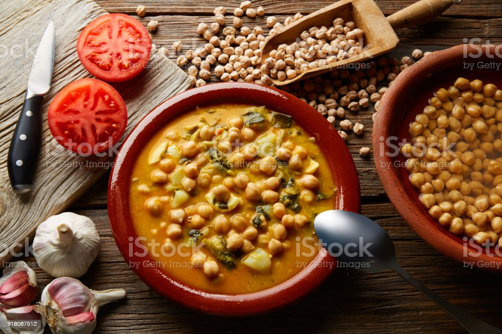 Potaje de Garbanzos chickpea stew Spain stock photo