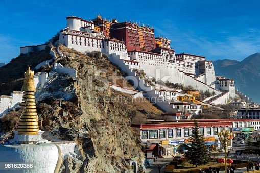 The Potala Monastery in the city of Lhasa in the Tibet Autonomous region of China. The residence of the Dalai Lama until the 14th Dalai Lama fled to India during the 1959 Tibetan uprising. It is now a museum and a UNESCO World Heritage Site.