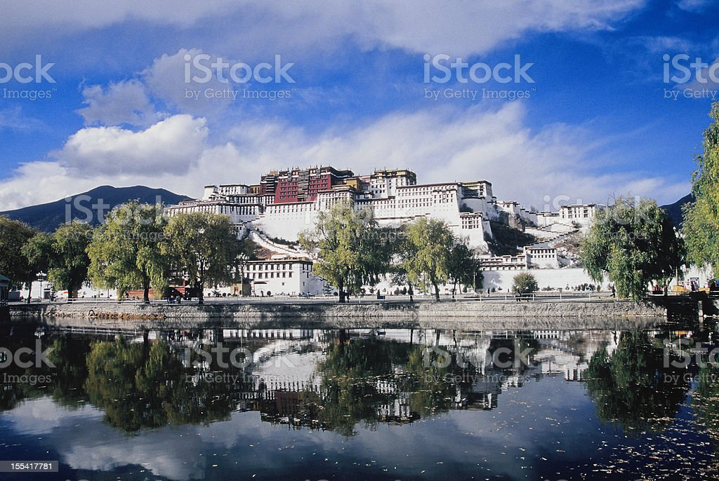 Potala Palace in reflection, Lhasa, Tibet stock photo