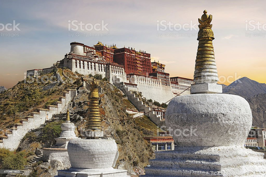 Potala Palace in Tibet during sunset stock photo